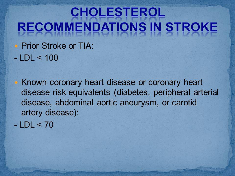 Prior Stroke or TIA: - LDL < 100 Known coronary heart disease or coronary heart disease risk equivalents (diabetes, peripheral arterial disease, abdom
