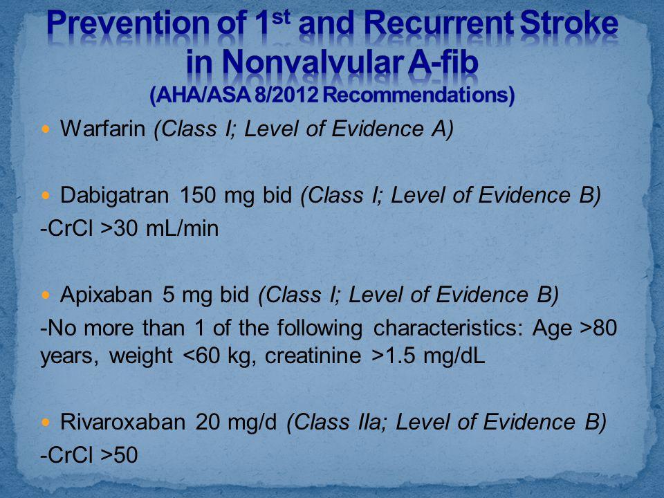 Warfarin (Class I; Level of Evidence A) Dabigatran 150 mg bid (Class I; Level of Evidence B) -CrCl >30 mL/min Apixaban 5 mg bid (Class I; Level of Evi