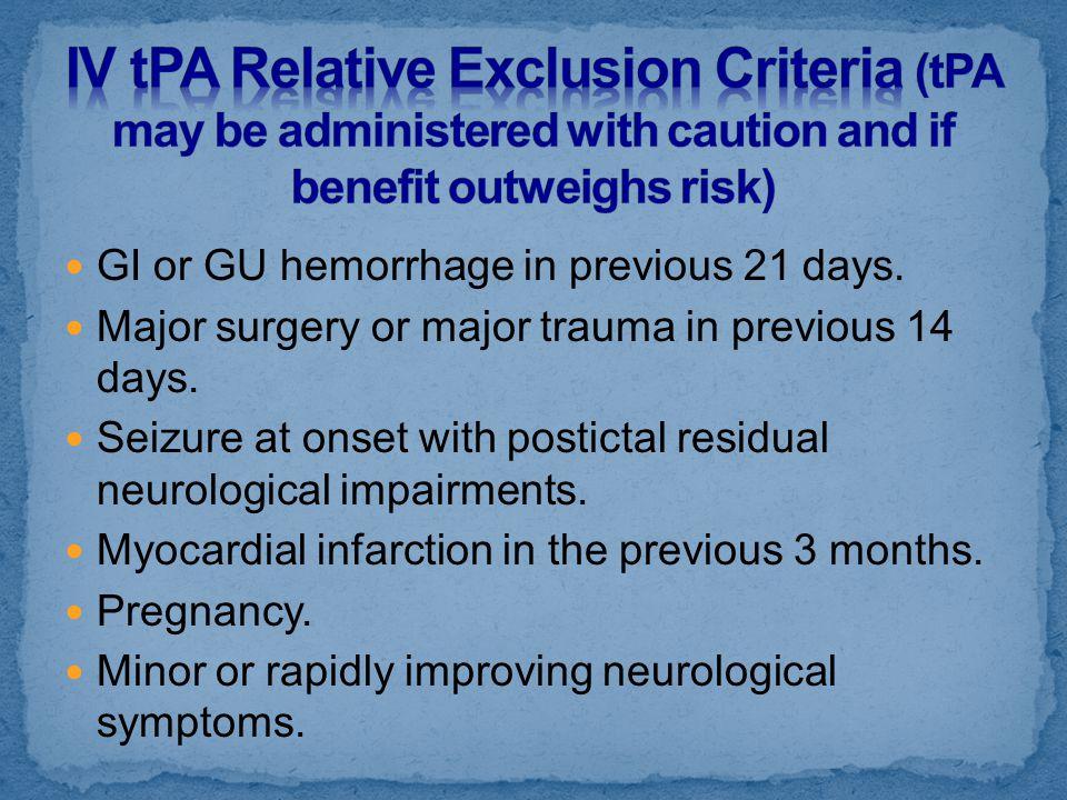 GI or GU hemorrhage in previous 21 days. Major surgery or major trauma in previous 14 days. Seizure at onset with postictal residual neurological impa