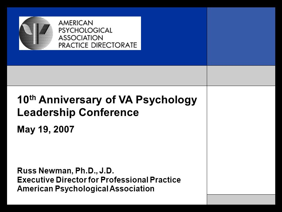 10 th Anniversary of VA Psychology Leadership Conference May 19, 2007 Russ Newman, Ph.D., J.D.