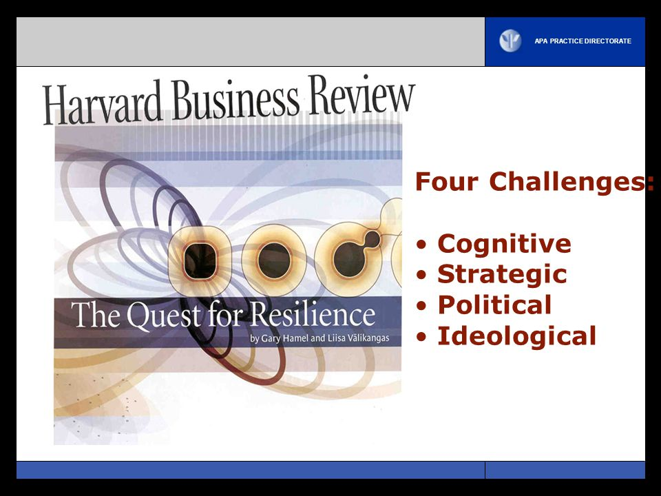 Four Challenges: Cognitive Strategic Political Ideological
