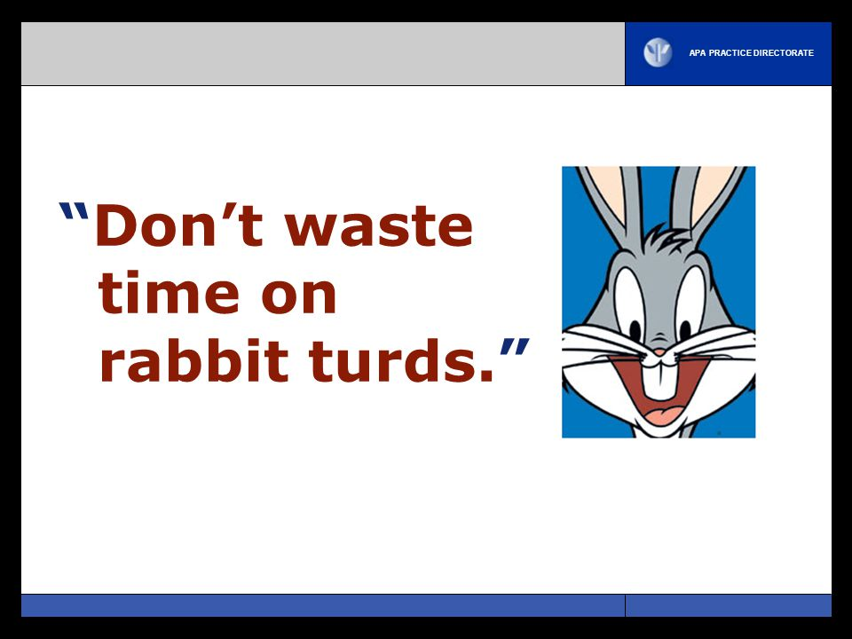 APA PRACTICE DIRECTORATE Don't waste time on rabbit turds.