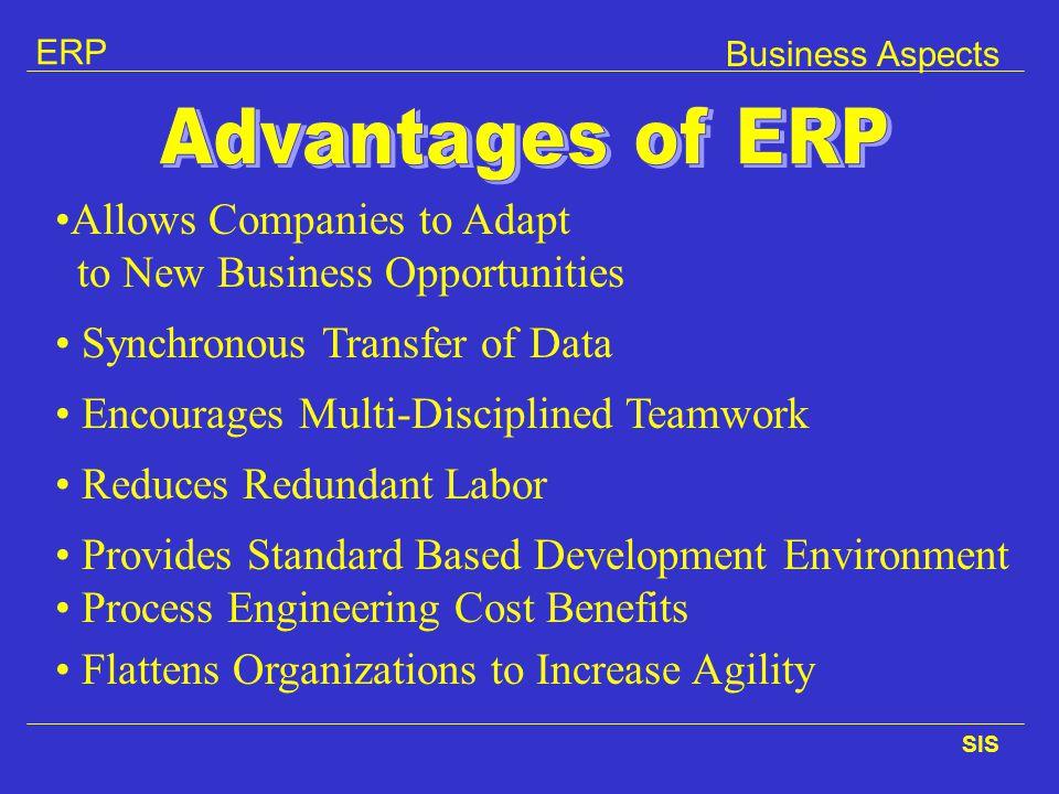 ERP SIS Synchronous Transfer of Data Encourages Multi-Disciplined Teamwork Reduces Redundant Labor Provides Standard Based Development Environment Pro