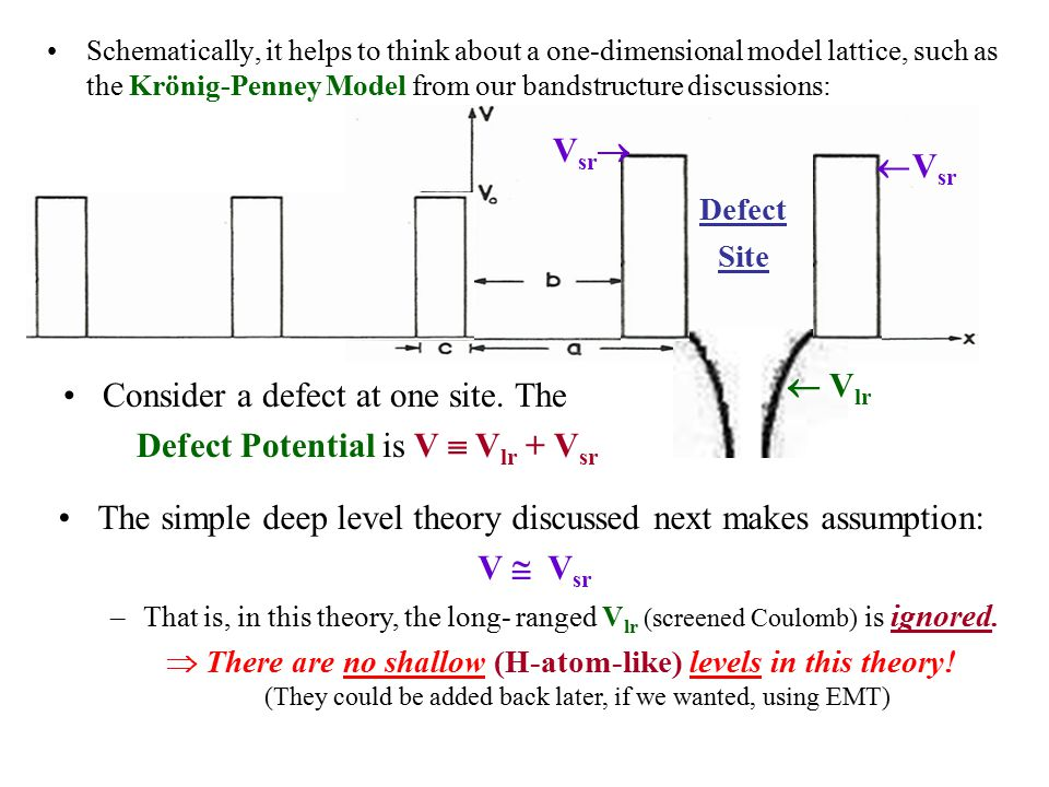Schematically, it helps to think about a one-dimensional model lattice, such as the Krönig-Penney Model from our bandstructure discussions: l Consider a defect at one site.