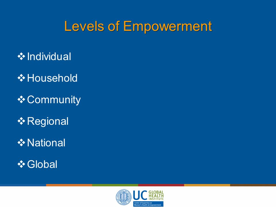 Levels of Empowerment  Individual  Household  Community  Regional  National  Global