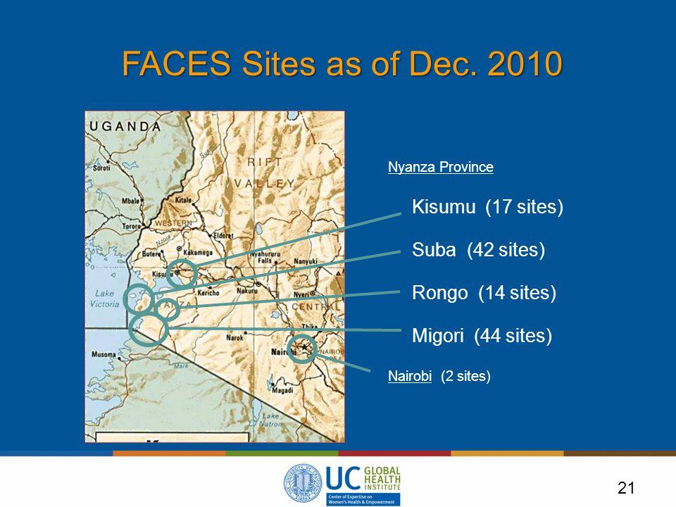 21 FACES Sites as of Dec.