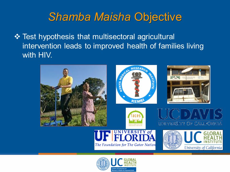 Shamba Maisha Objective  Test hypothesis that multisectoral agricultural intervention leads to improved health of families living with HIV.