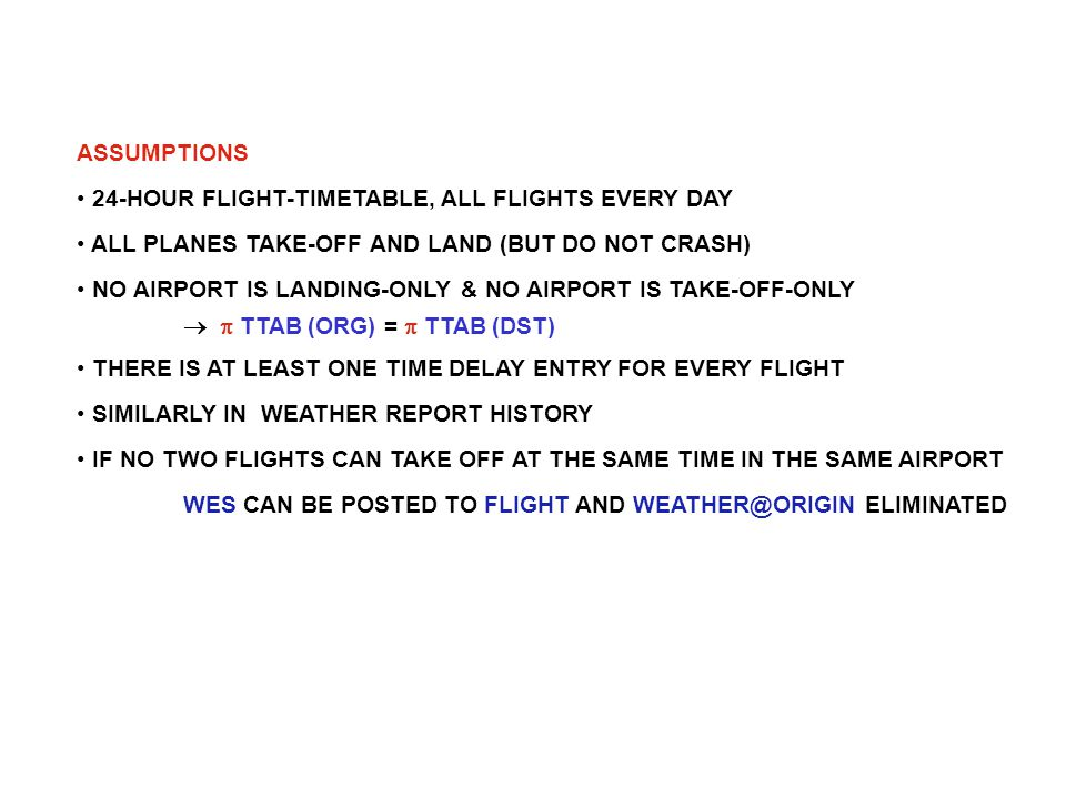 ASSUMPTIONS 24-HOUR FLIGHT-TIMETABLE, ALL FLIGHTS EVERY DAY ALL PLANES TAKE-OFF AND LAND (BUT DO NOT CRASH) NO AIRPORT IS LANDING-ONLY & NO AIRPORT IS