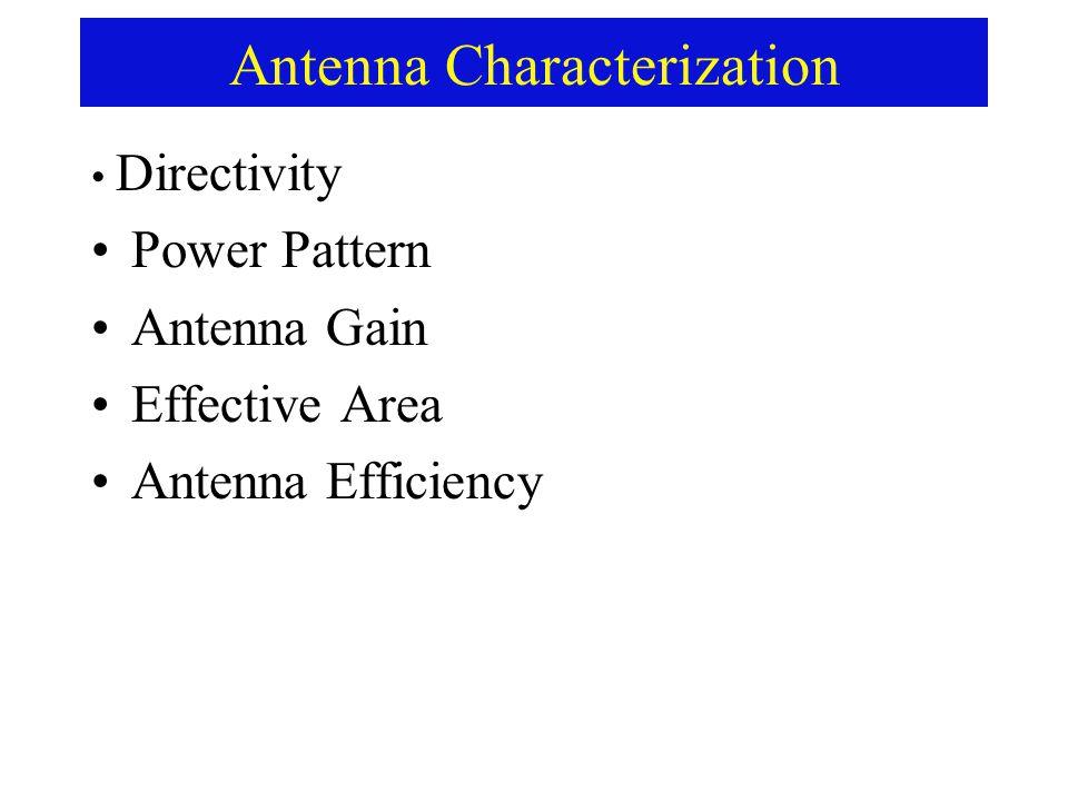 Antenna Characterization Directivity Power Pattern Antenna Gain Effective Area Antenna Efficiency