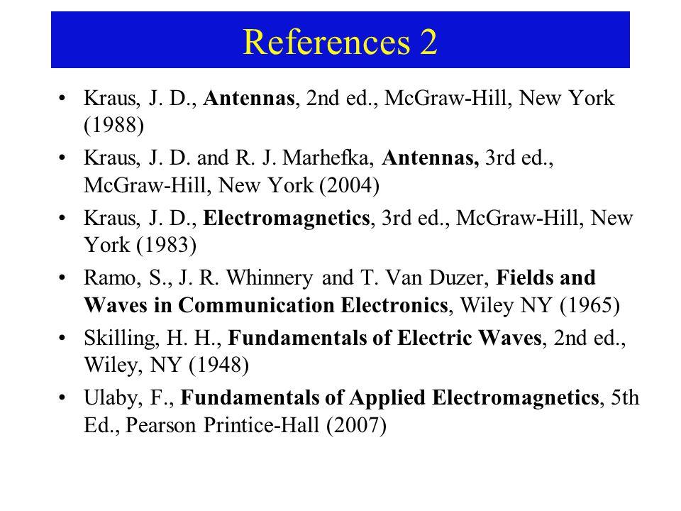 References 2 Kraus, J. D., Antennas, 2nd ed., McGraw-Hill, New York (1988) Kraus, J.