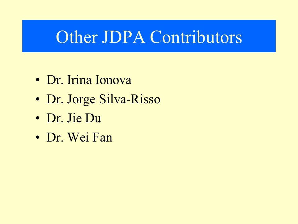 Other JDPA Contributors Dr. Irina Ionova Dr. Jorge Silva-Risso Dr. Jie Du Dr. Wei Fan
