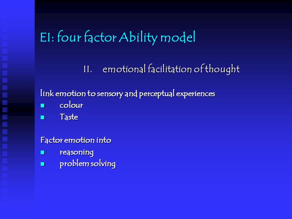 EI: four factor Ability model II.
