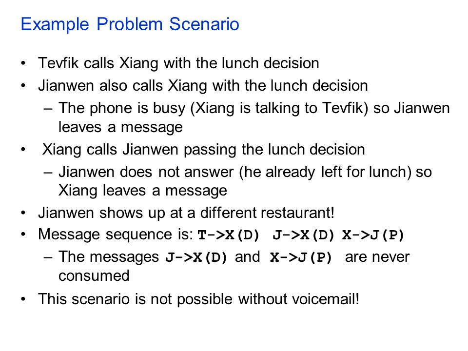 Example Problem Scenario Tevfik calls Xiang with the lunch decision Jianwen also calls Xiang with the lunch decision –The phone is busy (Xiang is talk