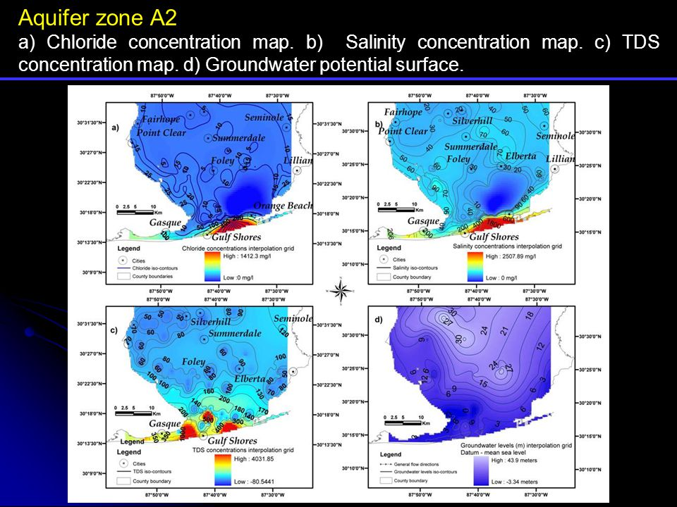 Aquifer zone A2 a) Chloride concentration map. b) Salinity concentration map.