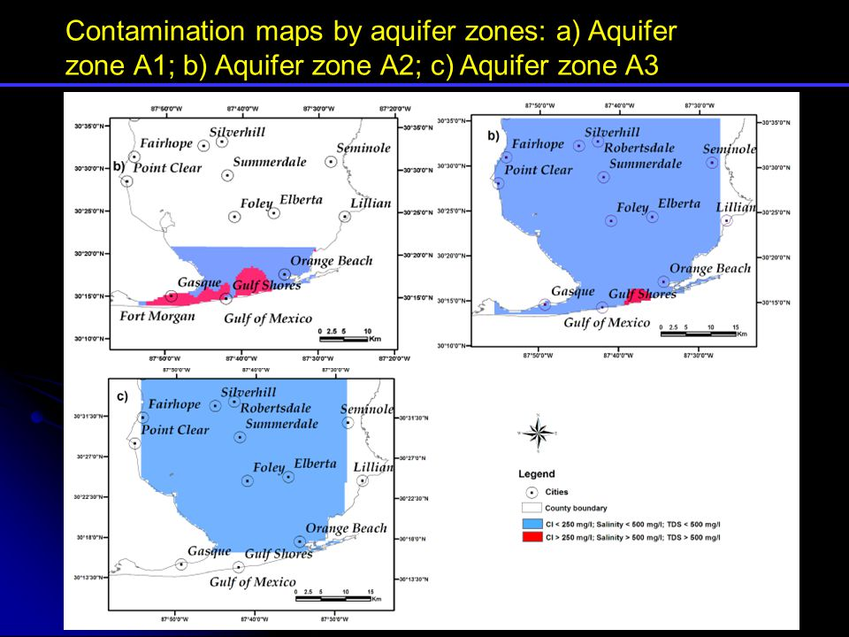 Contamination maps by aquifer zones: a) Aquifer zone A1; b) Aquifer zone A2; c) Aquifer zone A3