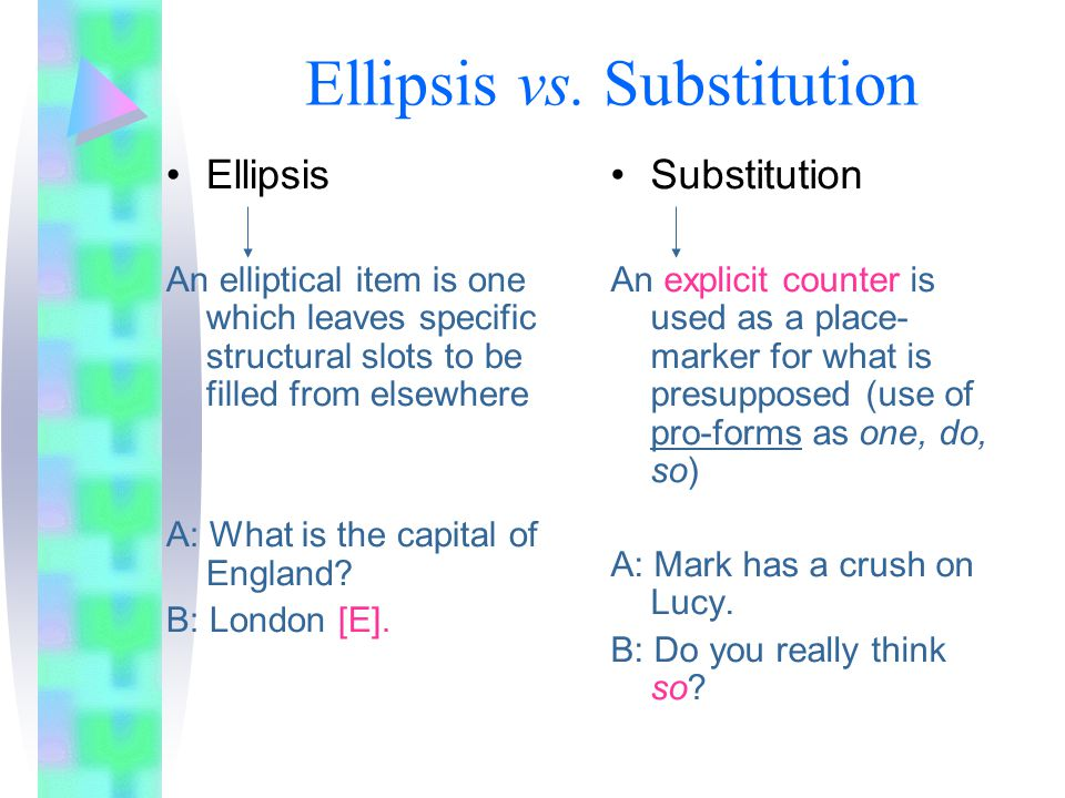 Function On the basis of the Economy Principle ('Be quick and easy'), the use of ellipsis reduces the amount of time and effort in both encoding and decoding, avoiding redundancy and repetition, BUT only when it does not lead to ambiguity.