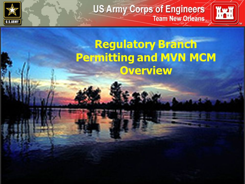 U.S.Army Corps of Engineers DEPARTMENT OF THE ARMY REGULATORY AUTHORITY THE U.S.