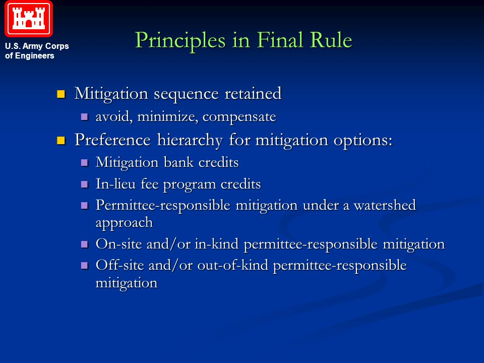 U.S. Army Corps of Engineers Principles in Final Rule Mitigation sequence retained Mitigation sequence retained avoid, minimize, compensate avoid, min