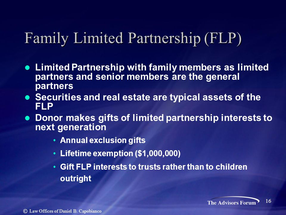Limited Partnership with family members as limited partners and senior members are the general partners Securities and real estate are typical assets