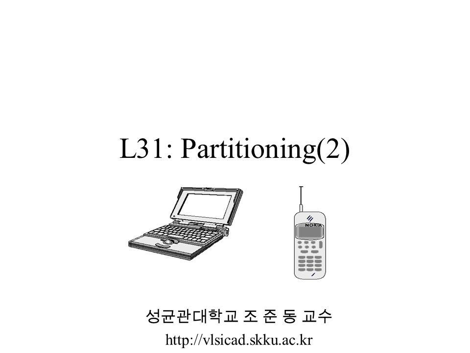 L31: Partitioning(2) 성균관대학교 조 준 동 교수 http://vlsicad.skku.ac.kr