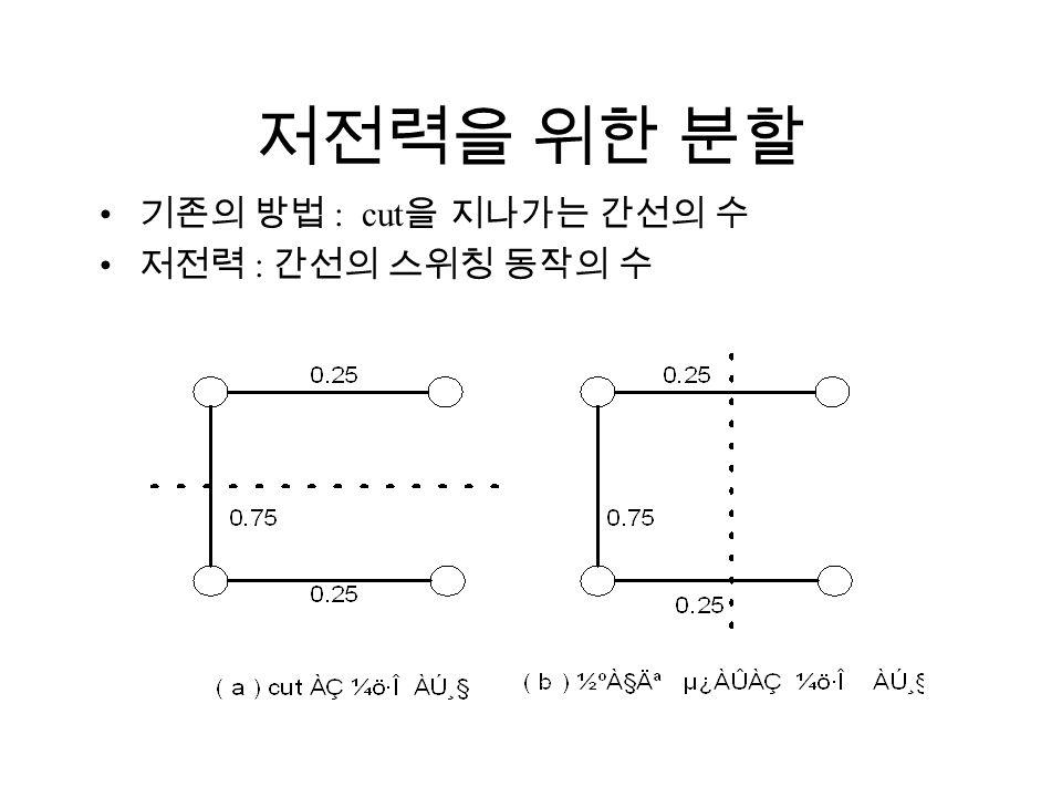 저전력을 위한 분할 기존의 방법 : cut 을 지나가는 간선의 수 저전력 : 간선의 스위칭 동작의 수