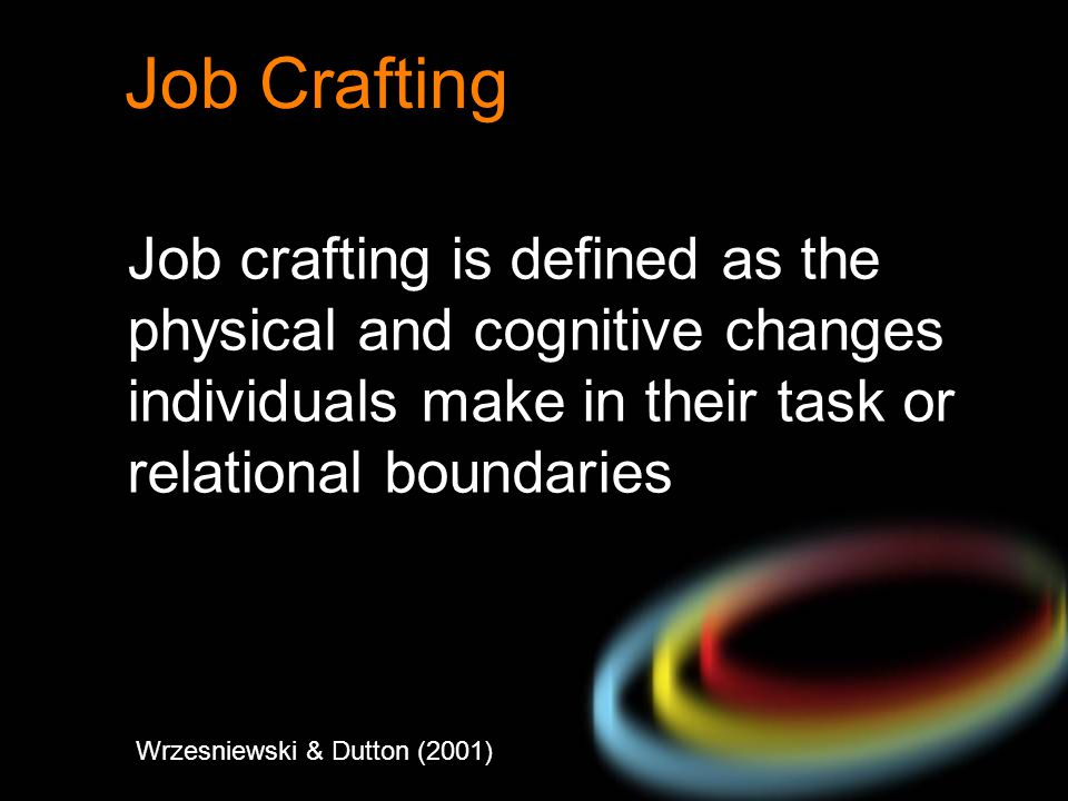 Job Crafting Job crafting is defined as the physical and cognitive changes individuals make in their task or relational boundaries Wrzesniewski & Dutt