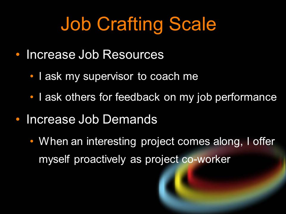 Job Crafting Scale Increase Job Resources I ask my supervisor to coach me I ask others for feedback on my job performance Increase Job Demands When an