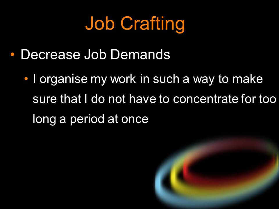 Job Crafting Decrease Job Demands I organise my work in such a way to make sure that I do not have to concentrate for too long a period at once
