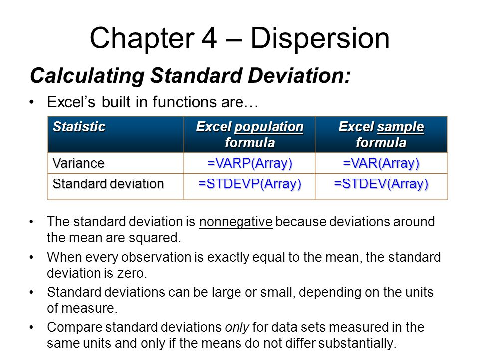 Calculating Standard Deviation: Excel's built in functions are… The standard deviation is nonnegative because deviations around the mean are squared.
