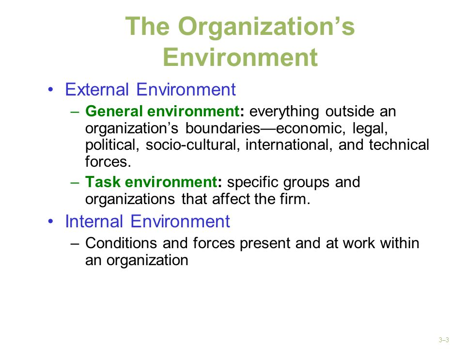 3–3 The Organization's Environment External Environment –General environment: everything outside an organization's boundaries—economic, legal, politic