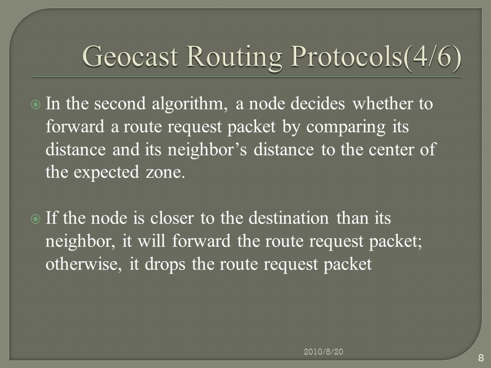  A mesh, which is used to route multicast packets in both On-demand multicast routing protocol(ODMRP) and Core Assisted Mesh Protocol(CAMP), is used to route geocast packets in GAMER.