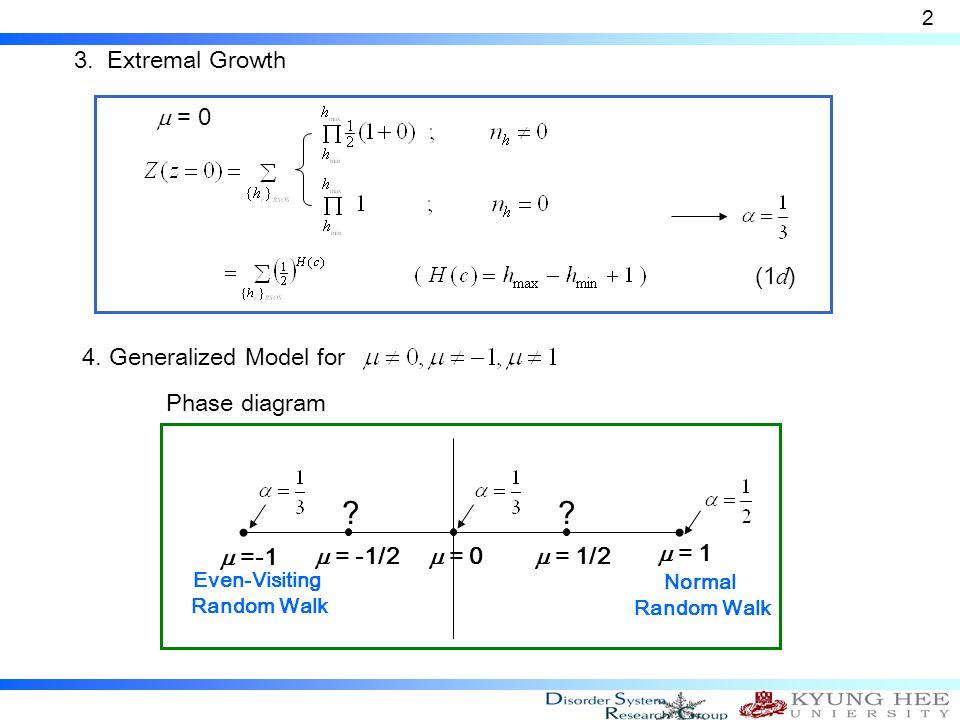 3. Extremal Growth 2  = 0  = 1  =-1 Normal Random Walk Even-Visiting Random Walk  = 1/2  = -1/2 ?? 4. Generalized Model for Phase diagram  = 0 (