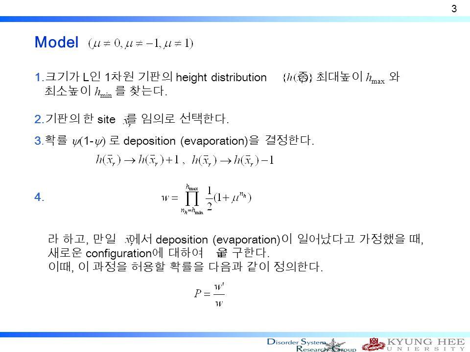 Model 1. 크기가 L 인 1 차원 기판의 height distribution 중, 최대높이 h max 와 최소높이 h min 를 찾는다.