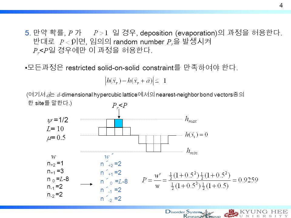 5. 만약 확률, P 가 일 경우, deposition (evaporation) 의 과정을 허용한다.