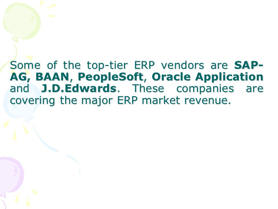 ORACLE FINANCIAL –This application transforms a finance organization into a strategic force and also helps to access the financial management functions.