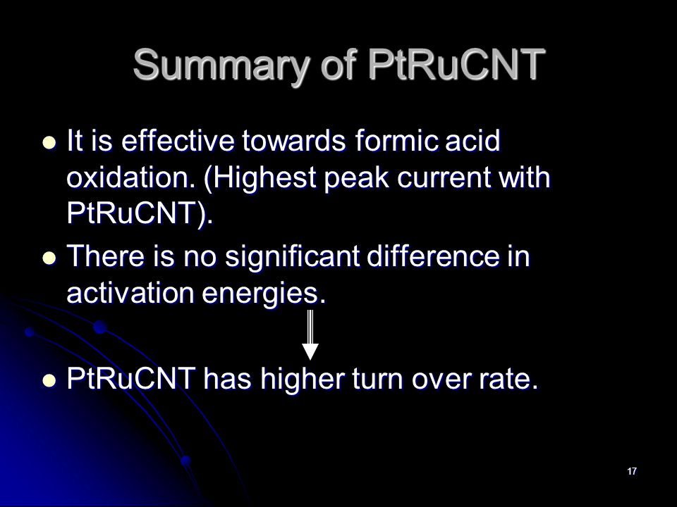 17 Summary of PtRuCNT It is effective towards formic acid oxidation.