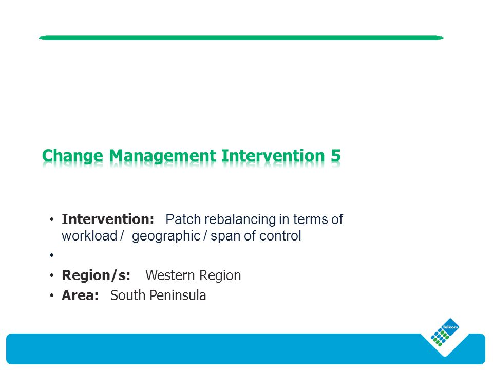 Intervention: Patch rebalancing in terms of workload / geographic / span of control Region/s: Western Region Area: South Peninsula