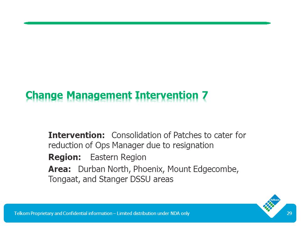 Intervention: Consolidation of Patches to cater for reduction of Ops Manager due to resignation Region: Eastern Region Area: Durban North, Phoenix, Mount Edgecombe, Tongaat, and Stanger DSSU areas Telkom Proprietary and Confidential information – Limited distribution under NDA only29