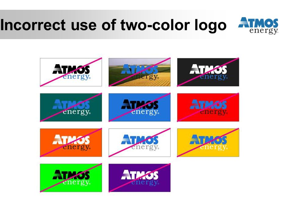 Incorrect use of two-color logo