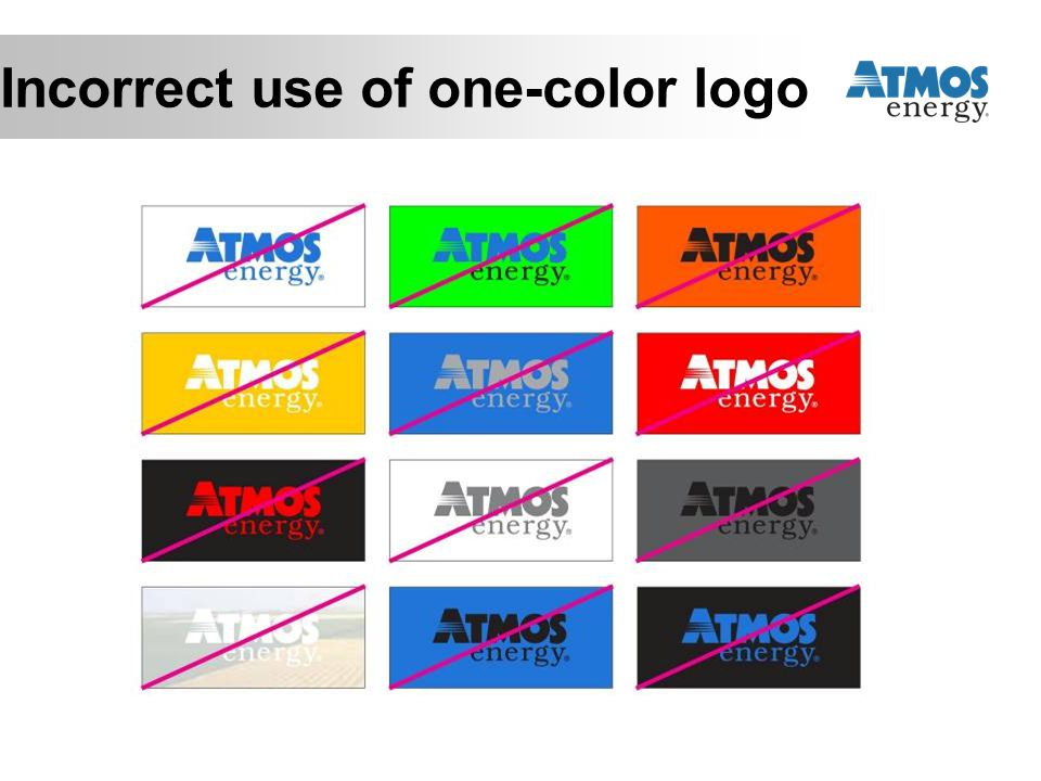 Incorrect use of one-color logo
