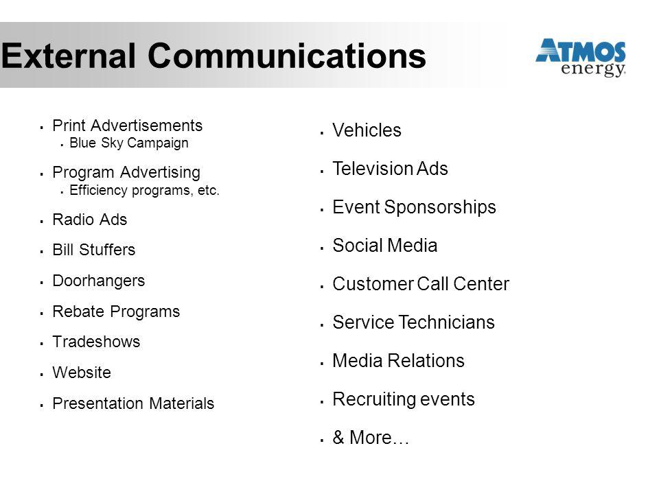 External Communications  Print Advertisements  Blue Sky Campaign  Program Advertising  Efficiency programs, etc.  Radio Ads  Bill Stuffers  Doo