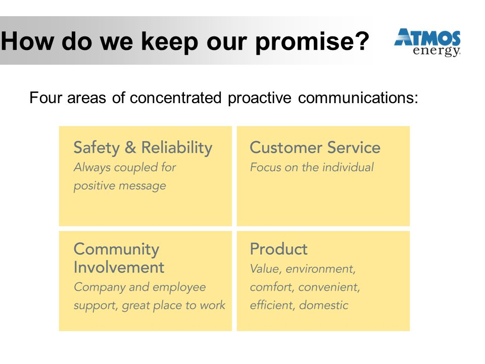 How do we keep our promise? Four areas of concentrated proactive communications: