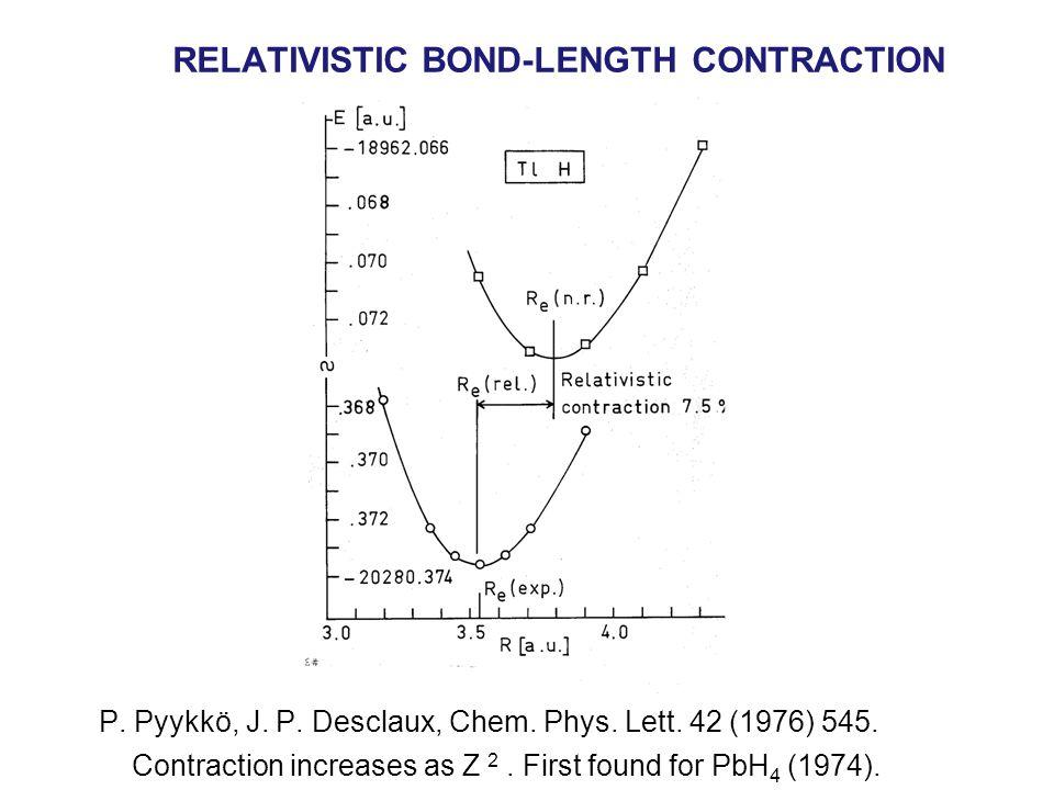 RELATIVISTIC BOND-LENGTH CONTRACTION P. Pyykkö, J.