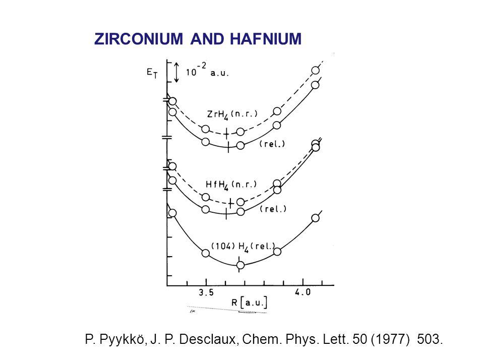 ZIRCONIUM AND HAFNIUM P. Pyykkö, J. P. Desclaux, Chem. Phys. Lett. 50 (1977) 503.