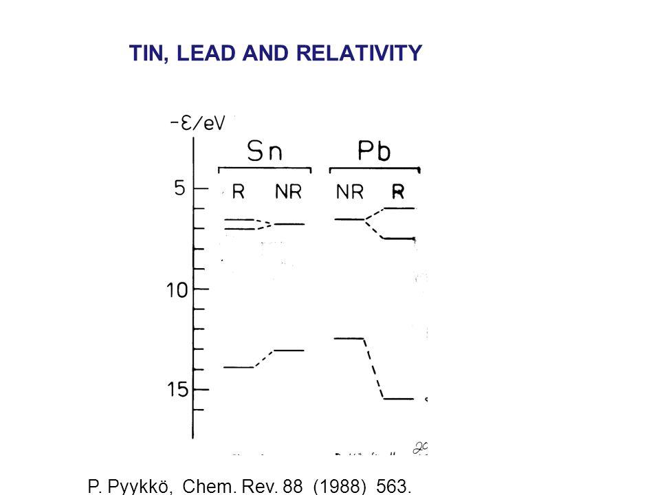 TIN, LEAD AND RELATIVITY P. Pyykkö, Chem. Rev. 88 (1988) 563.