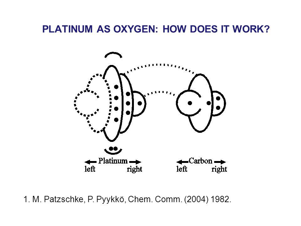 PLATINUM AS OXYGEN: HOW DOES IT WORK 1. M. Patzschke, P. Pyykkö, Chem. Comm. (2004) 1982.