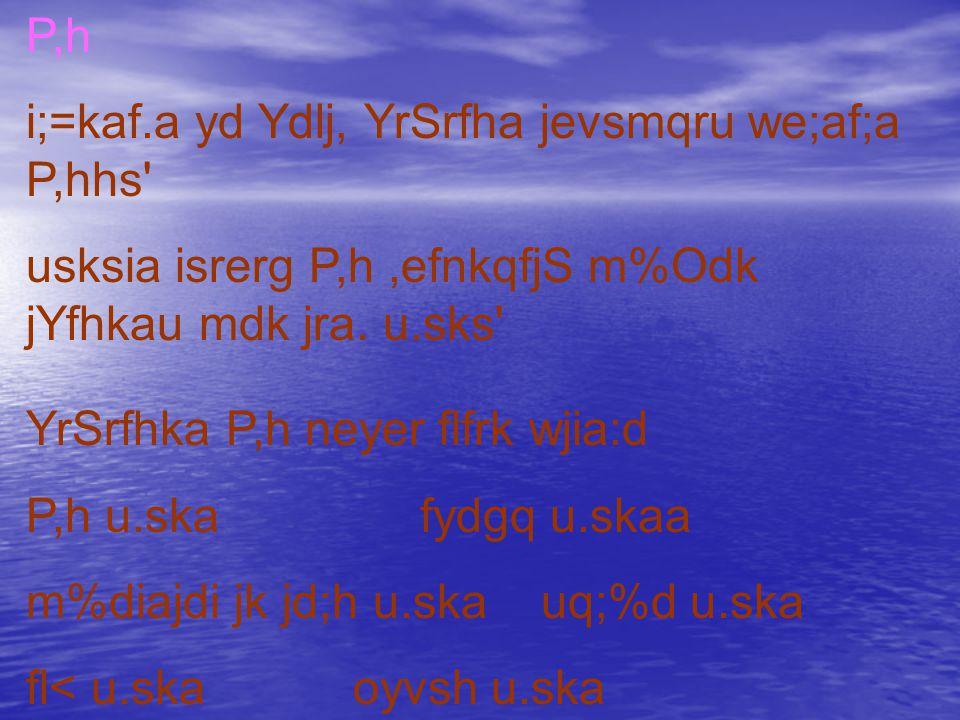 P,h i;=kaf.a yd Ydlj, YrSrfha jevsmqru we;af;a P,hhs usksia isrerg P,h,efnkqfjS m%Odk jYfhkau mdk jra.