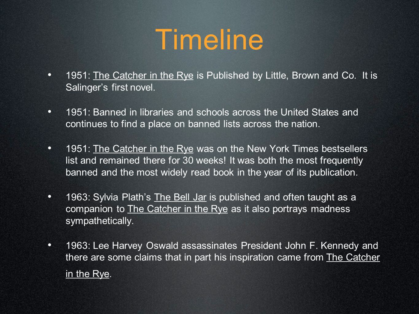 Timeline continued...1965: Jerome David Salinger stops publishing and becomes a recluse.