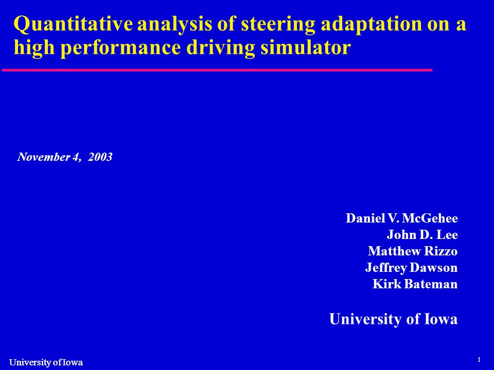 2 Background Most simulators do not completely replicate the driving experience and require time for drivers to adapt –This is particularly the case in static simulators Older drivers may be particularly vulnerable to differences between the simulator and the real vehicle We usually make subjective judgments as to a person's adaptation to a simulator –5 to 15 minutes of training frequently cited in the literature
