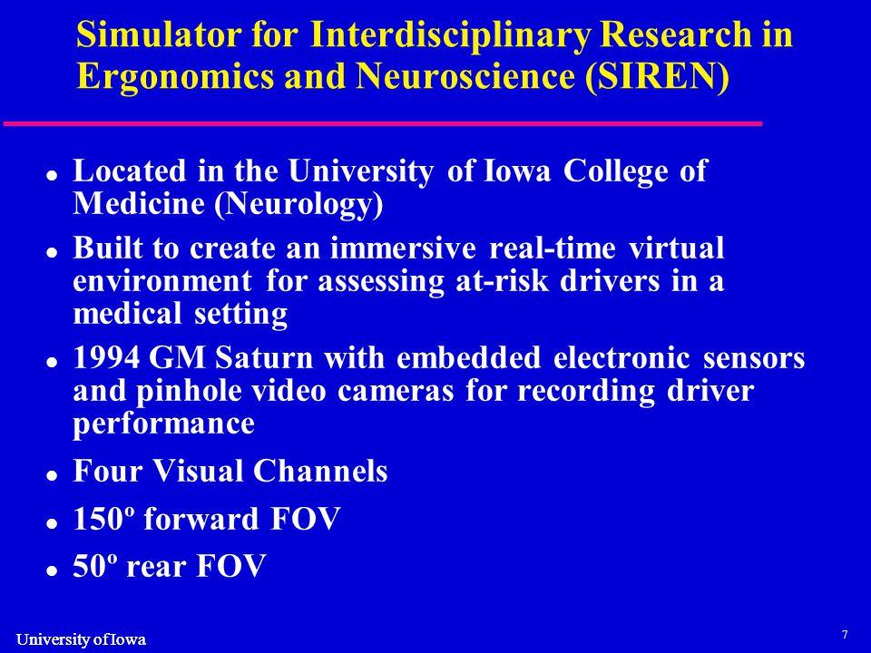 8 University of Iowa SIREN driving simulator